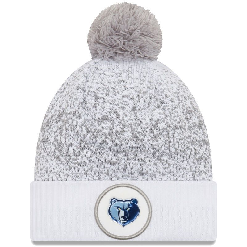 5e5a2d5e46d Memphis Grizzlies New Era On-Court Cuffed Knit Hat With Pom - White ...