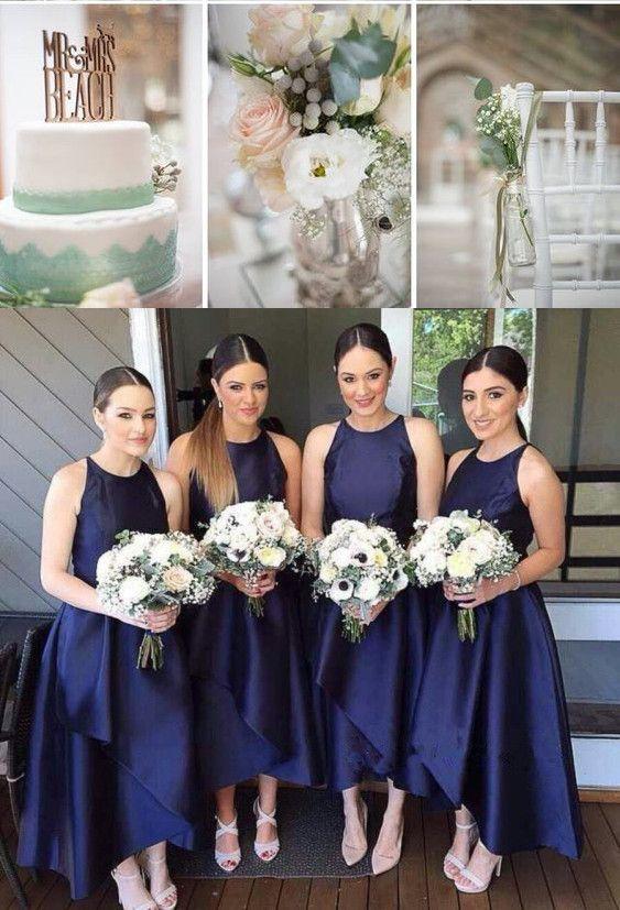 Simple Tea Length Bridesmaid Dress Navy Blue Casual Dresses Elegant Wedding Cake Flower