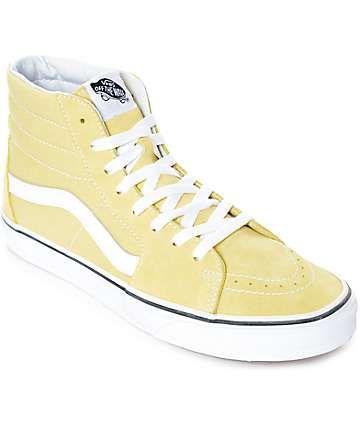 Vans Sk8-Hi Dusty City Yellow & White Skate Shoes   vans na veia    Pinterest   Skate shoes, Vans sk8 and Van shoes