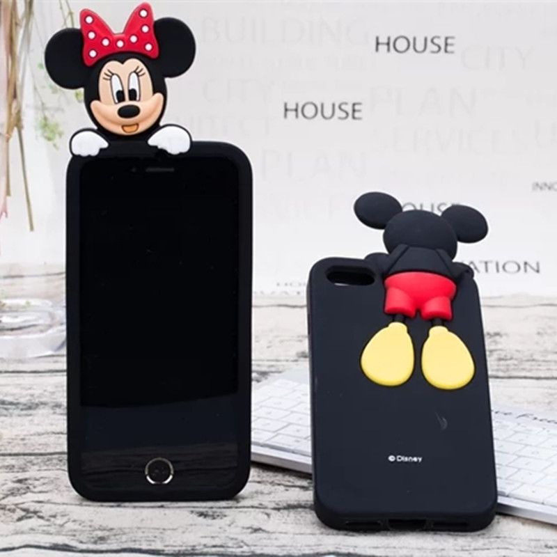 New Style 3D Fashion Cute Cartoon Mikey Minnie Fundas Capa Soft Silicon Cases Cover For iPhone 4G 5 5G 5S SE 6 6S 6Plus 7 7Plus