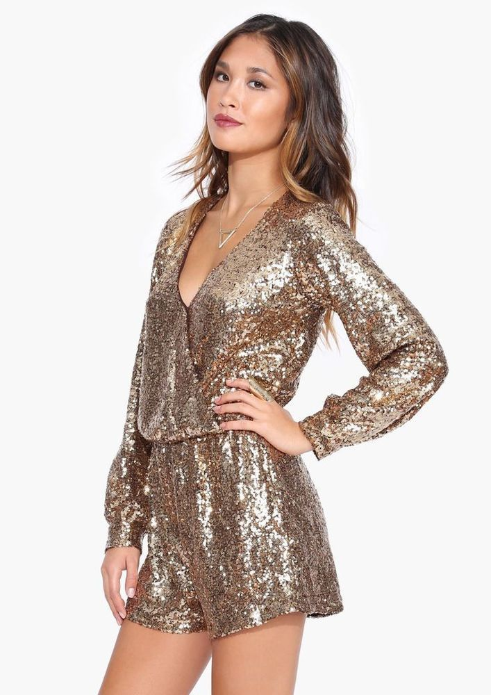 2d3d44d5cd6 New Gold beaded Romper Sequin Jumper Long Sleeve jumpsuit shorts formal  wrap new  ForSIenna  Romper