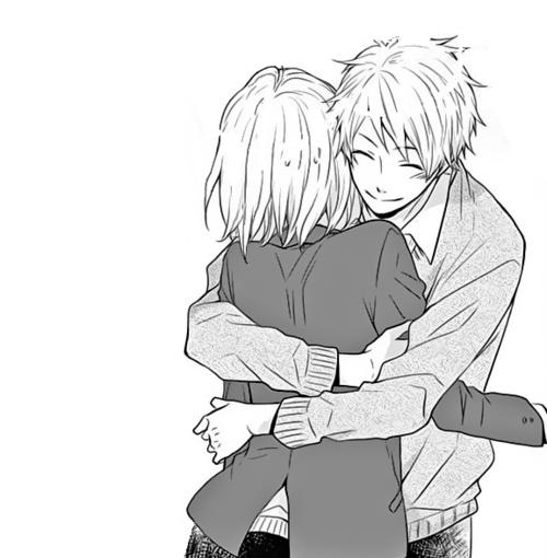 Anime hug and love image anime manga couple boy - Anime hug pics ...