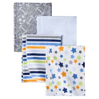 Swaddle Blankets Target Glamorous Circo Lil Player 4Pk Receiving Flannel Blankets $10  Baby Design Decoration
