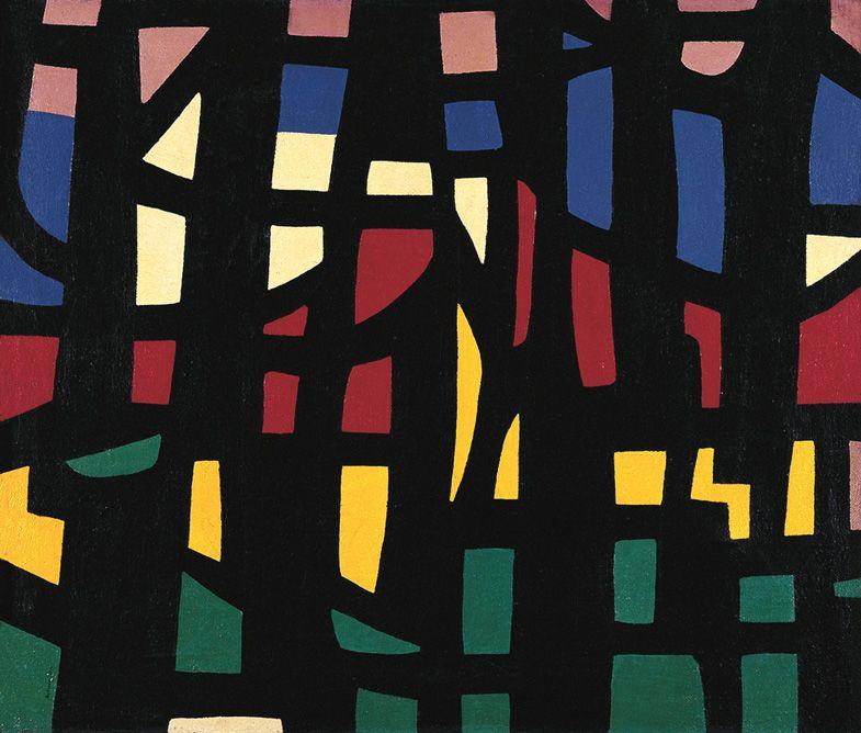 Mario Ballocco, Grata nera fondo multicolore (Origine), 1950. Via Archivio Mario Ballocco