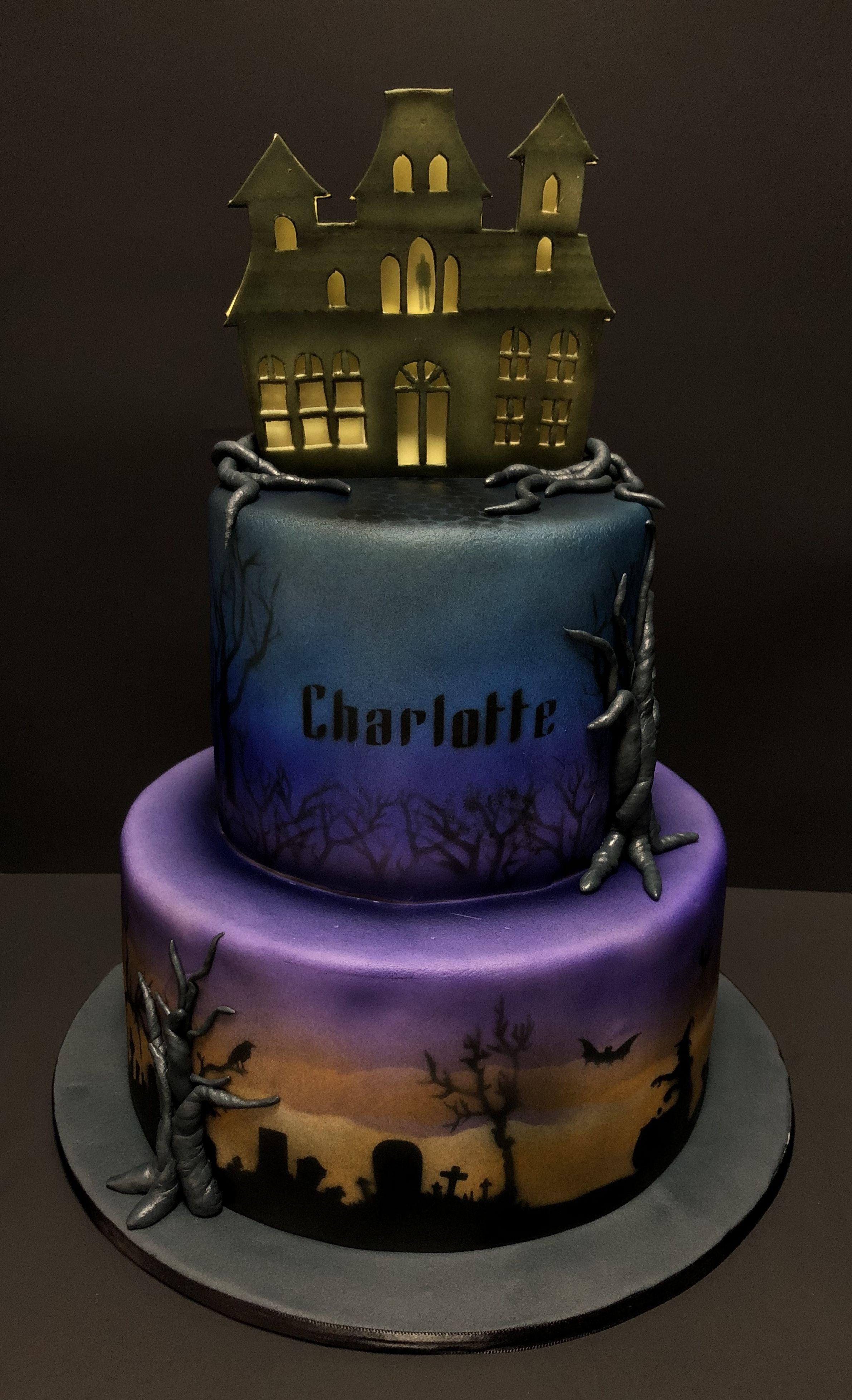 Astonishing Haunted House Birthday Cake Almond Cake With Amaretto Filling Funny Birthday Cards Online Inifofree Goldxyz