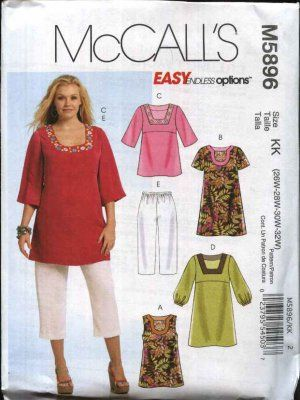 3f5807350 McCall s Sewing Pattern 5896 Womans Plus Size 18W-24W Easy Pullover ...