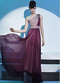 In Stock Perfect Sheath One Shoulder Neckline Natural Waist Beaded Floor Length Evening Dress