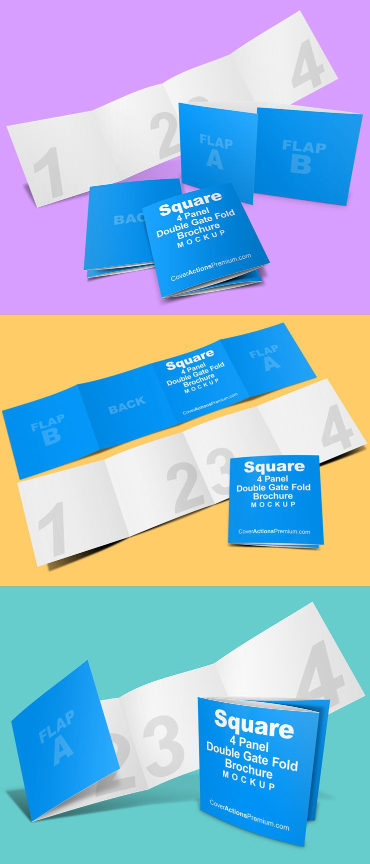 Square 4 Fold Brochure Mockup Double Gate Fold Cover Actions Premium Mockup Psd Template Brochure Flyer Mockup Page Layout Design