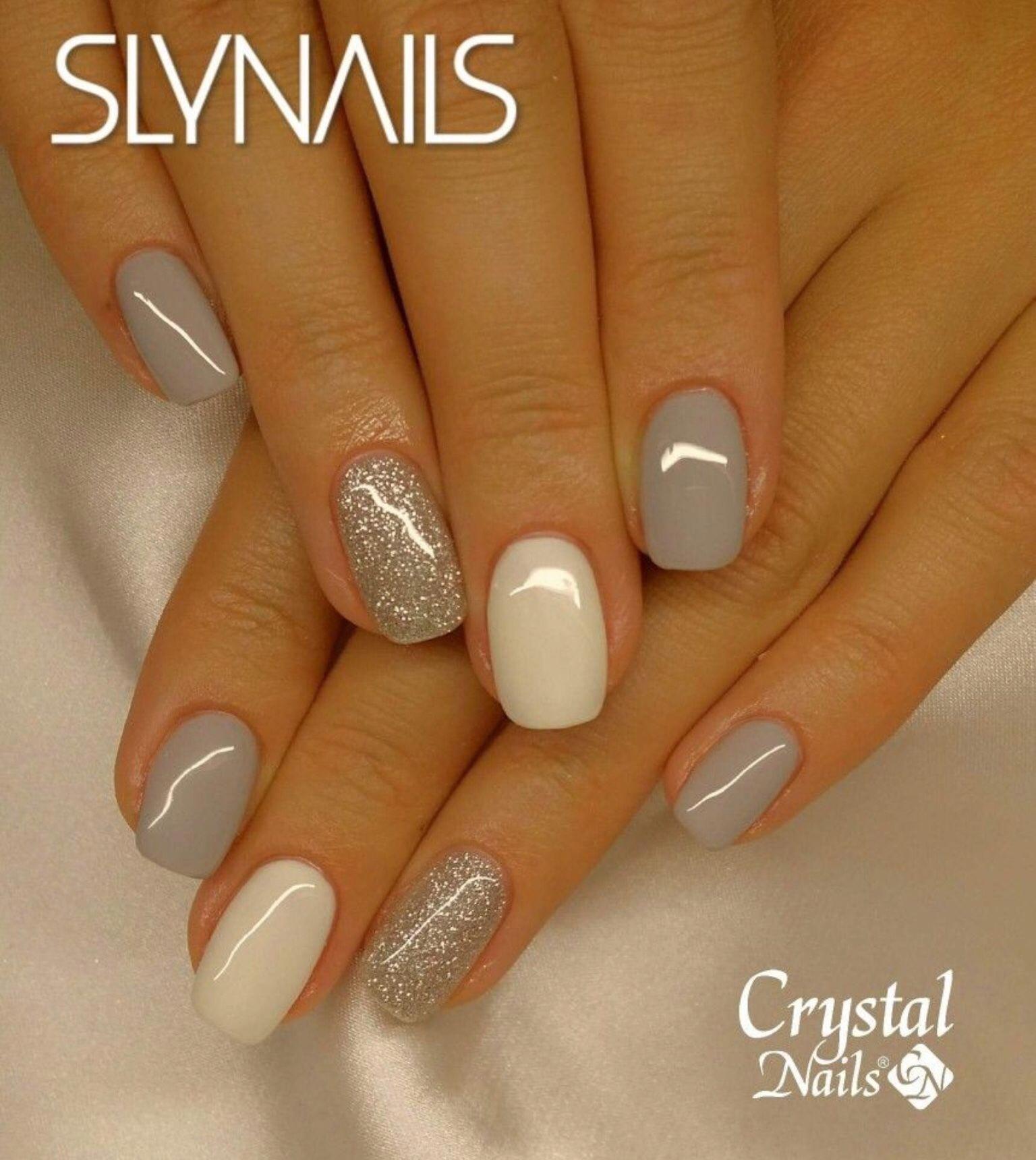 Nail Combo Gray White Silver Glitter Acrylicnails Trendy Nails Nails Crystal Nails