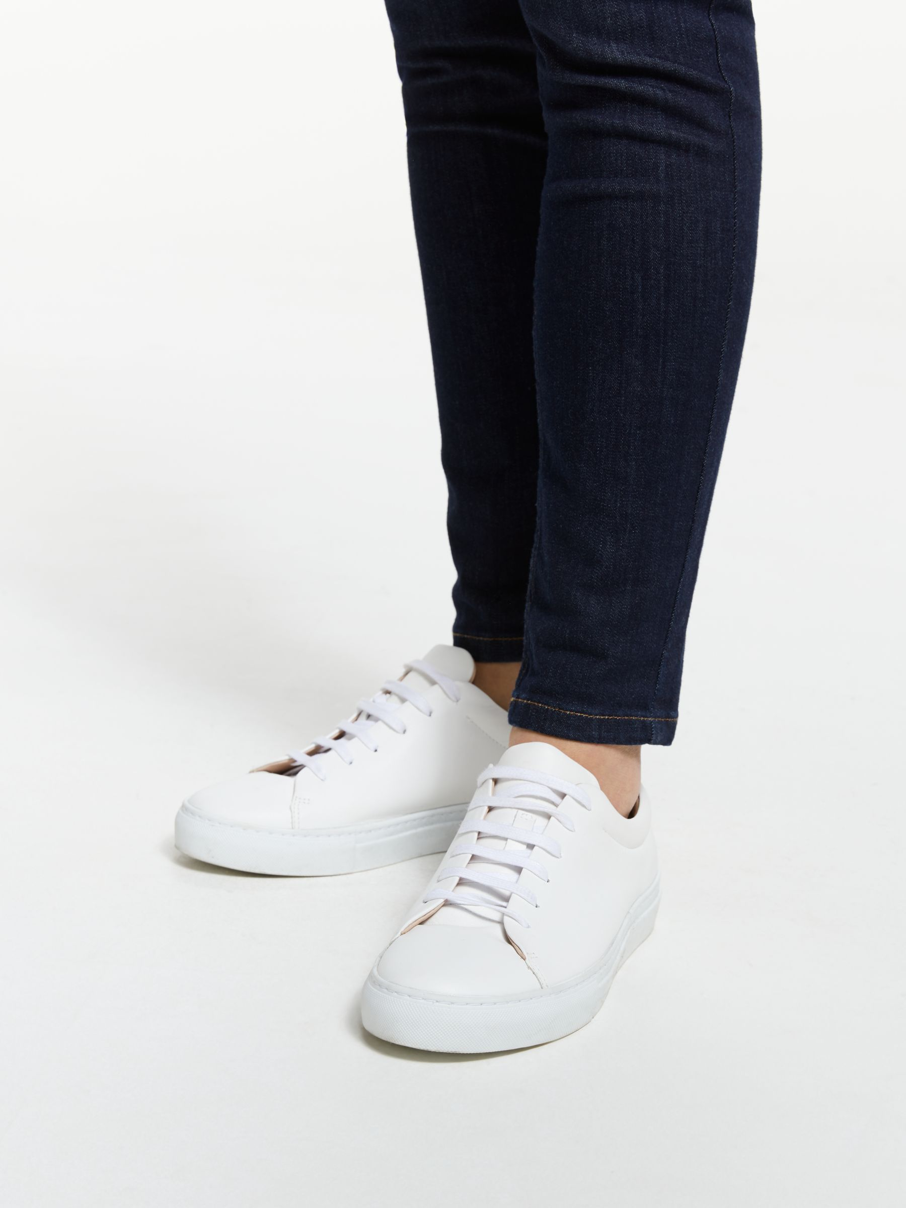 John Lewis & Partners Flora Lace Up Trainers, White Leather