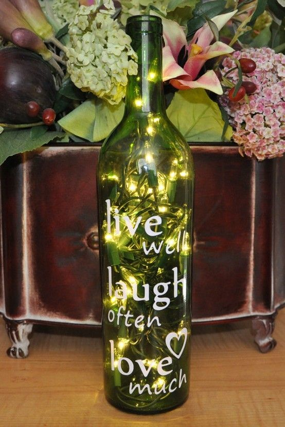 Wine bottle light alexandra alvarez beauty pinterest for Wine bottle light ideas