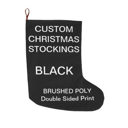 Custom Customizable Large BLACK Christmas Stocking | Large black