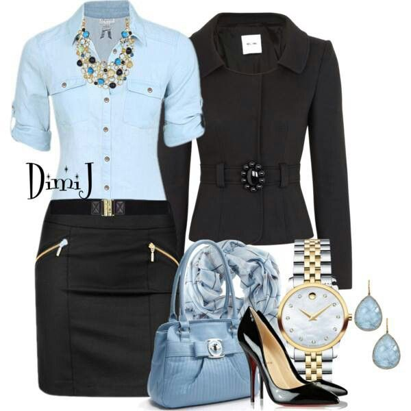 Nice business wear – but i'd change the top and accessories to a green or pink