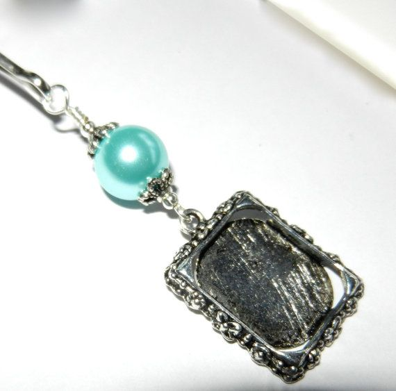 A lovely way to be remembered. Wedding bouquet photo charm. Light blue shell pearl by SmilingBlueDog, $8.99