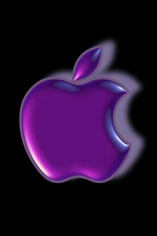 Purple Apple Logo On Black Background IPhone Wallpaper
