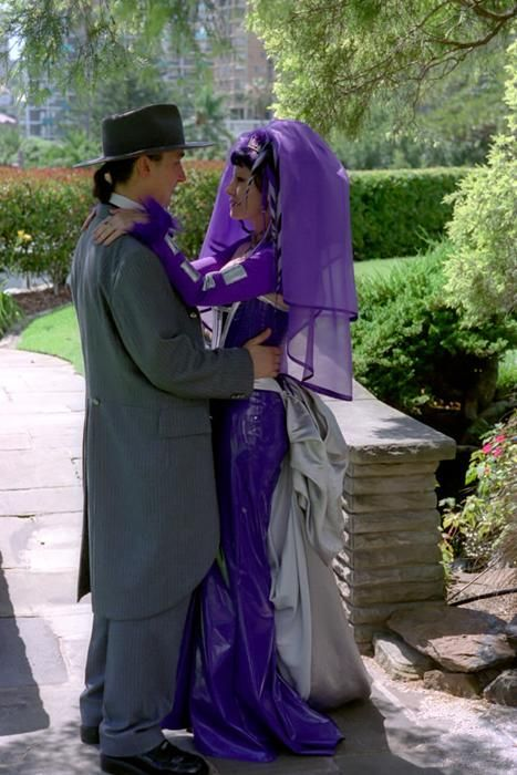 Purple Wedding Veil Pvc Cyber Dreads Silver Bustle At