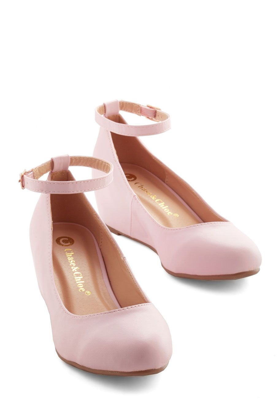 Blush pink mary jane ankle strap low med wedge heel ballet flat ...