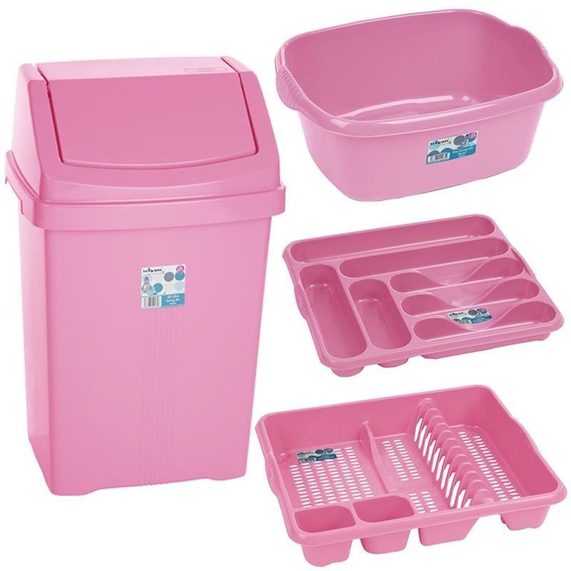 Pink Kitchen Accessories Baby Bin And Washing Up 4 Piece Set