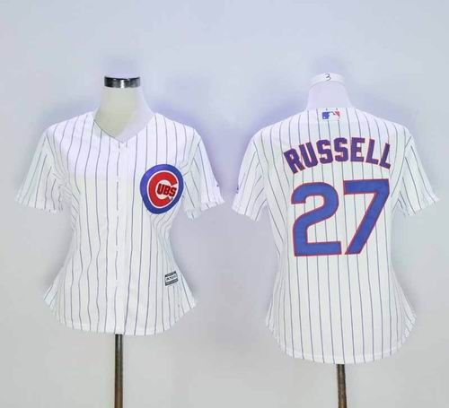 8e7c26a2f Womens Chicago Cubs Jerseys #27 Addison Russell White Cool Base Baseball  Jersey