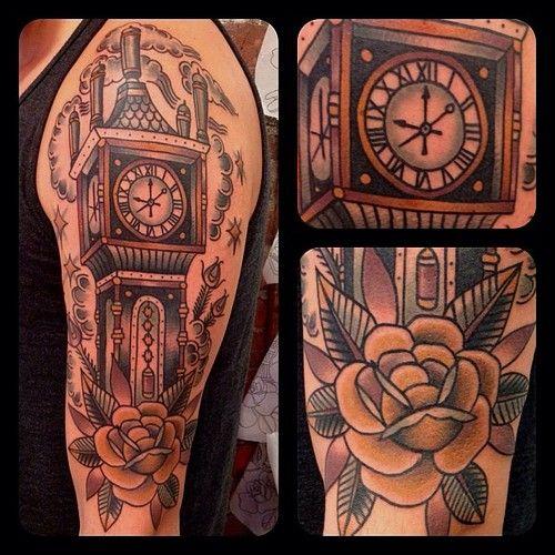 Illustrated Gentleman Grandfather Clock Tattoo Clock Tattoo Clock Tattoo Design