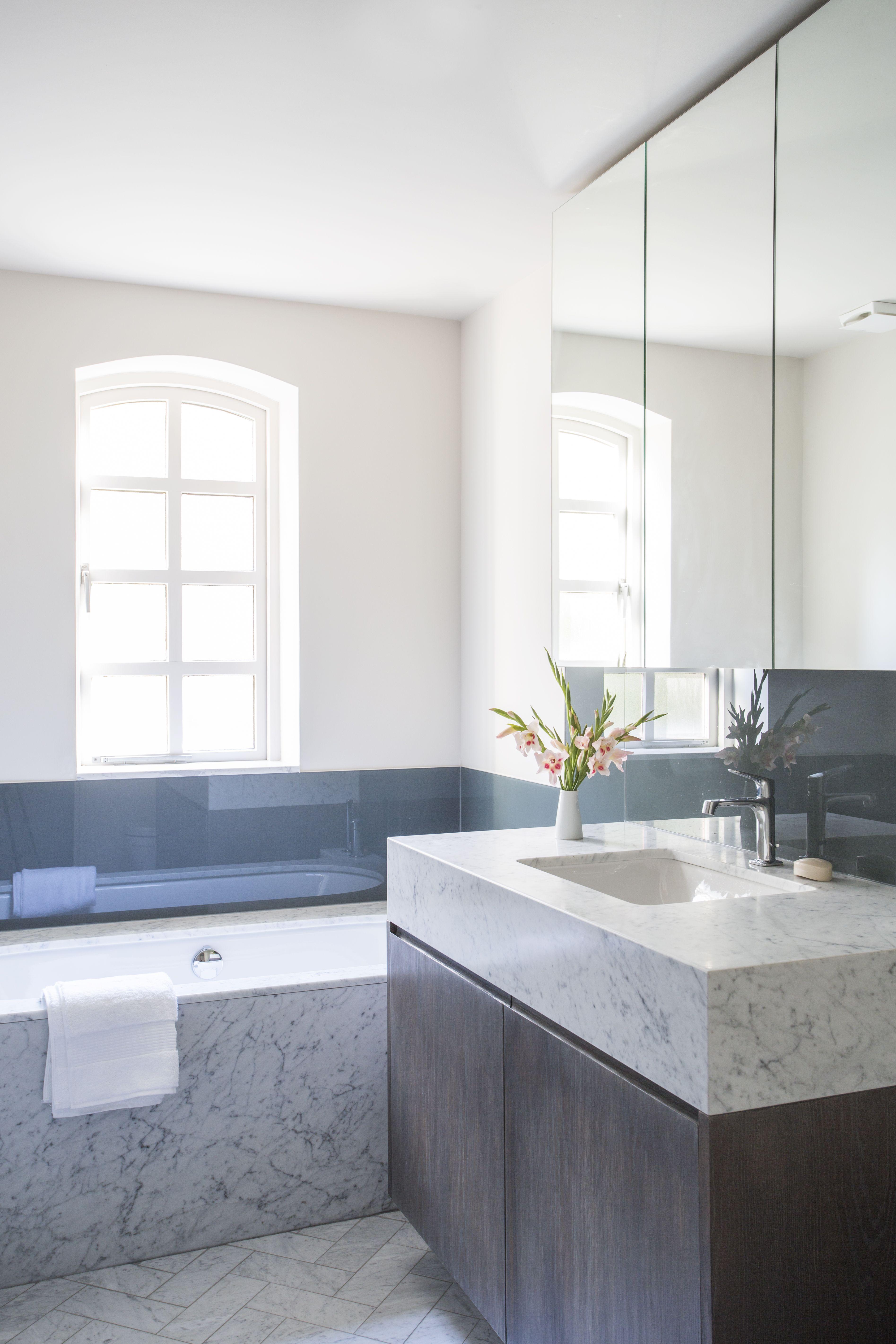 Bathroom modern white carrara marble herringbone floor