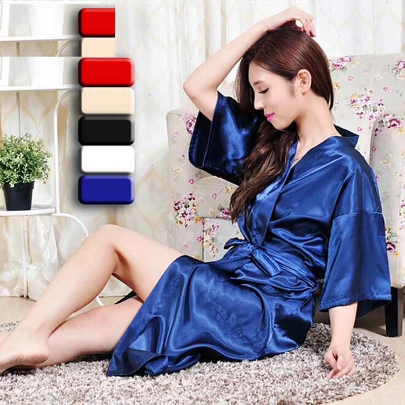 Matching mother daughter stain robes 4 colors plus size quality silk ...