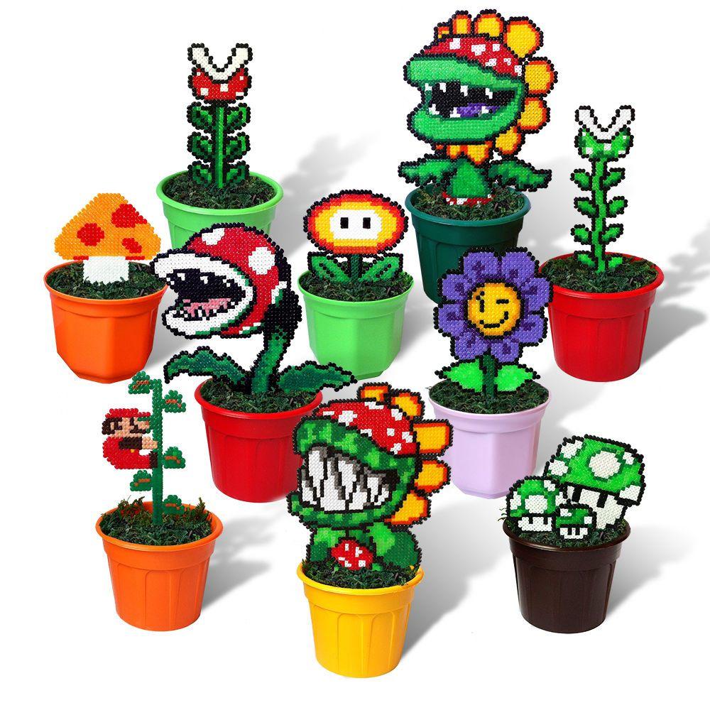 10 super mario bros figures in pots pixel beads handmade for 8 bit decoration