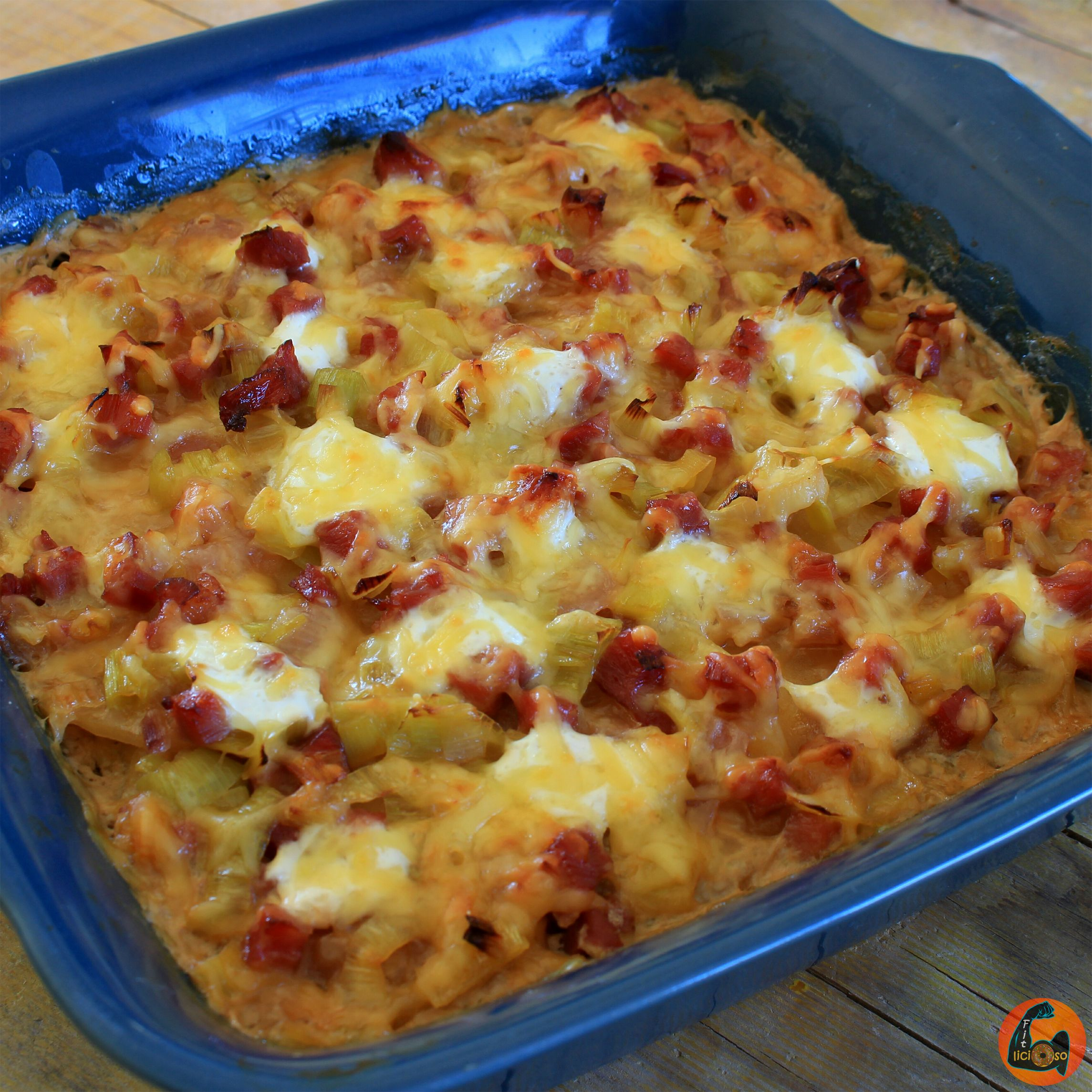 Patatas Gratinadas al Horno Fit con Jamón y Queso