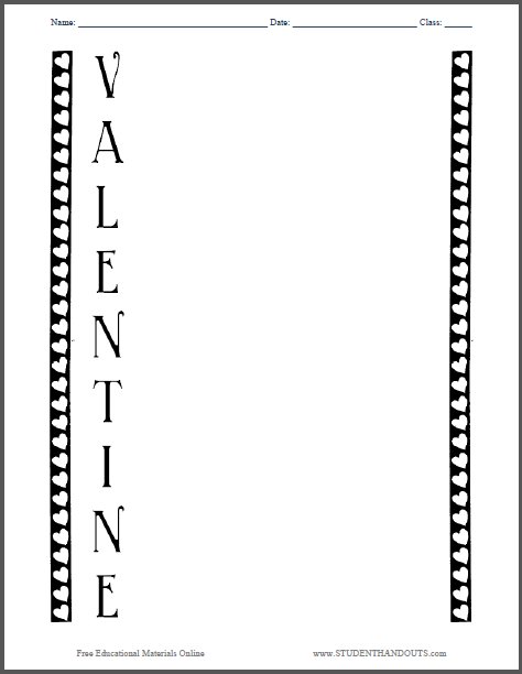 Students compose a Valentine's Day acrostic poem with this