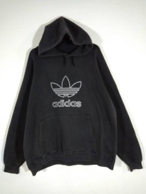 Vintage ADIDAS ORIGINALS Big Logo Hoodie Sweatshirt Black | Small S