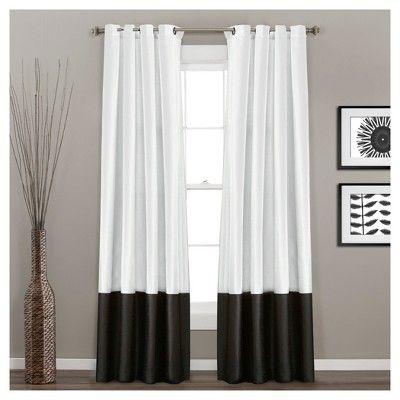 Prima Window Curtain Panel Pair Black/White (84″X54″) – Lush Décor, Size: 84″ x 54″