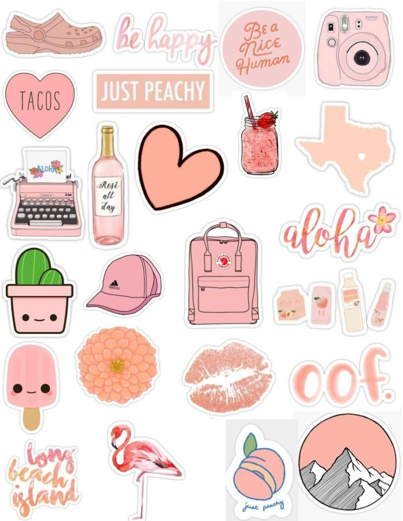 Peach tumblr sticker pack aesthetic cute edits overlays crocs kanken pink light pink peachy pink orange peachy