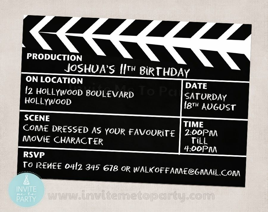 Movie Party Invite / Hollywood Party Invite / Clapperboard Invite ...