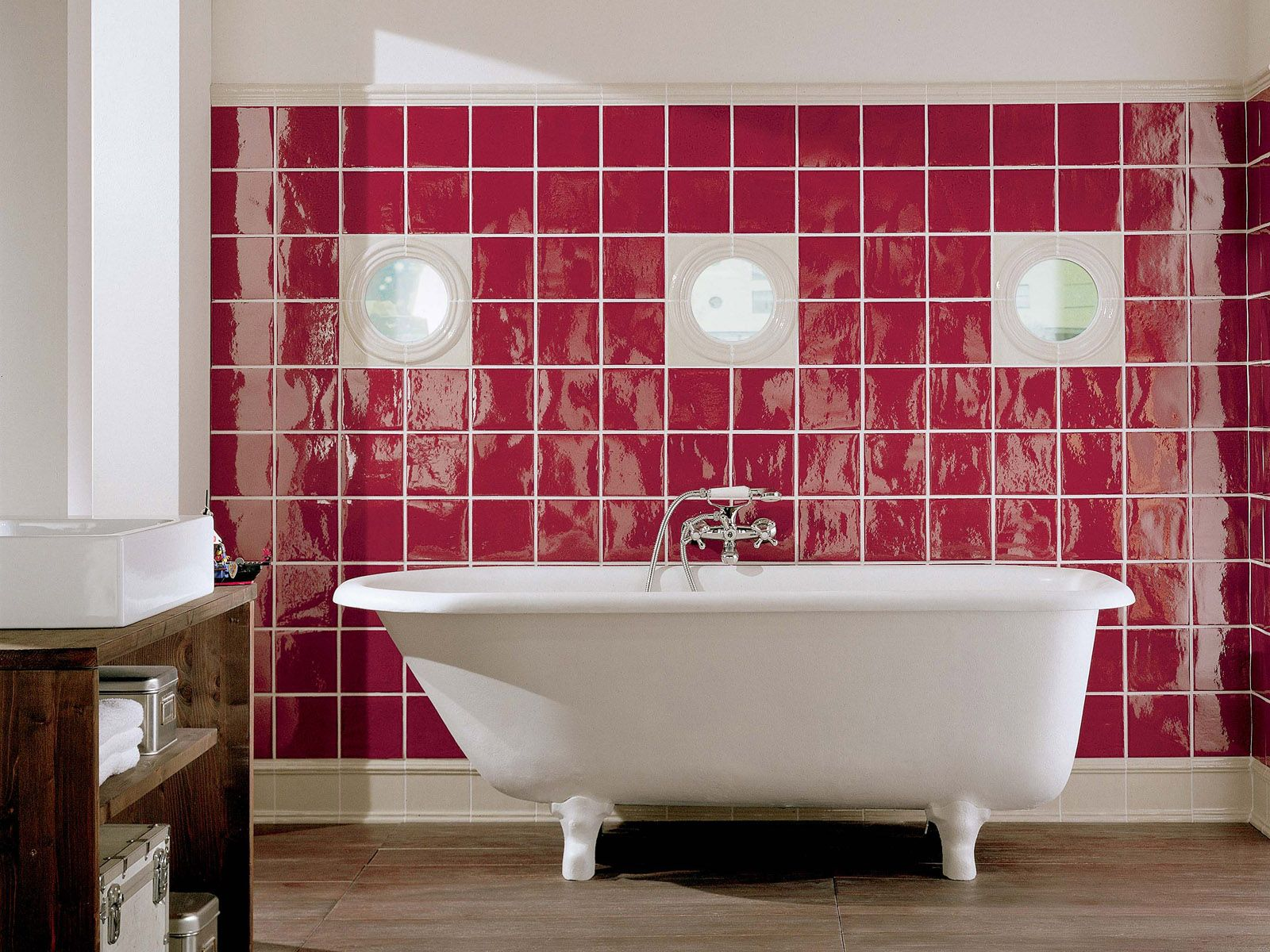 Red And White Bathroom Ideas Unique Pink And Whitebathroom  Casa  Pinterest  Bathroom Tiling Tile Decorating Design