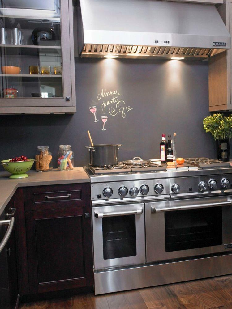 Die Küchenrückwand können Sie problemlos mit einer Tafelfarbe - paneele kche gestalten