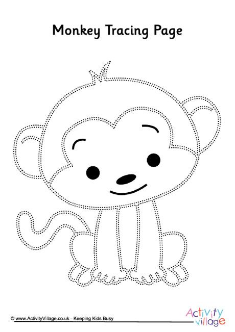 Monkey tracing page | Pre K and Kindergarten Printables ...