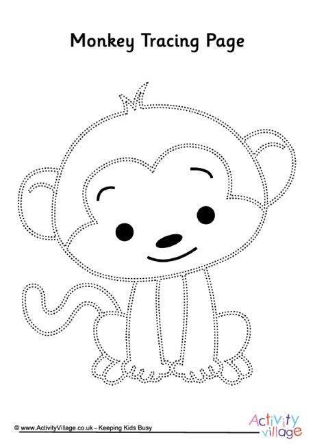 Monkey tracing page | baby shower ideas | Monkey crafts, Monkey ...