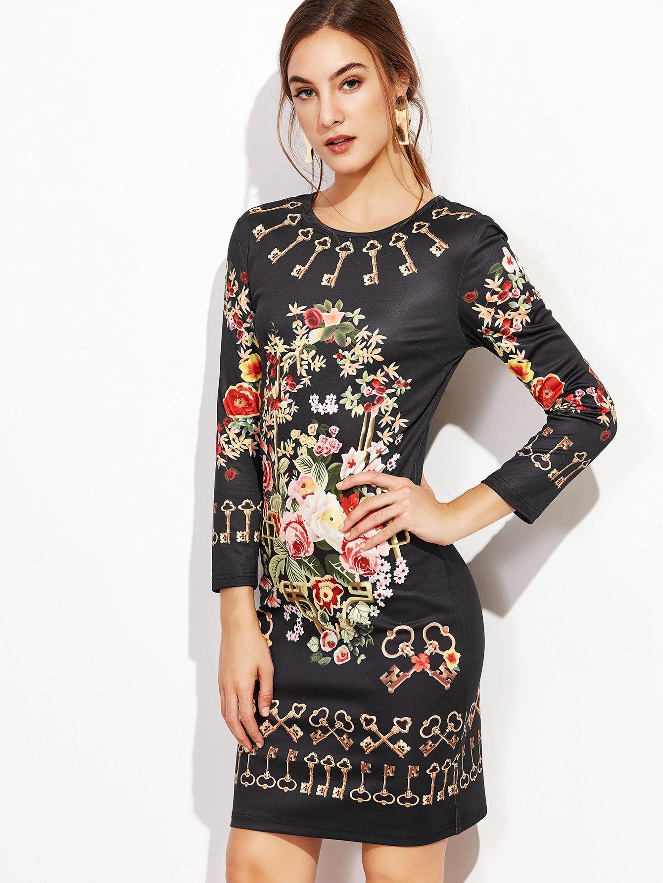 Black Floral Print Sheath Dress — 0.00 € ------------------------color: Black size: M,S,XS