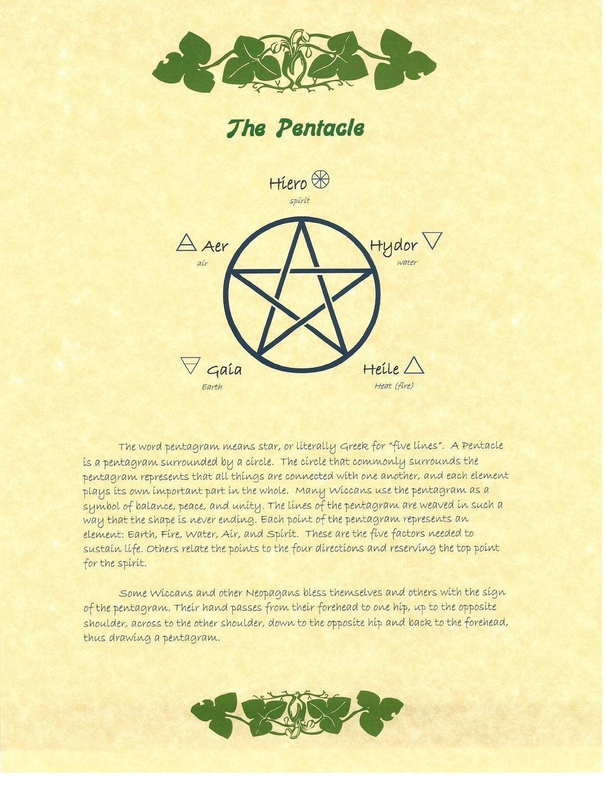 Book Of Shadows Spell Pages Pentacle Wicca