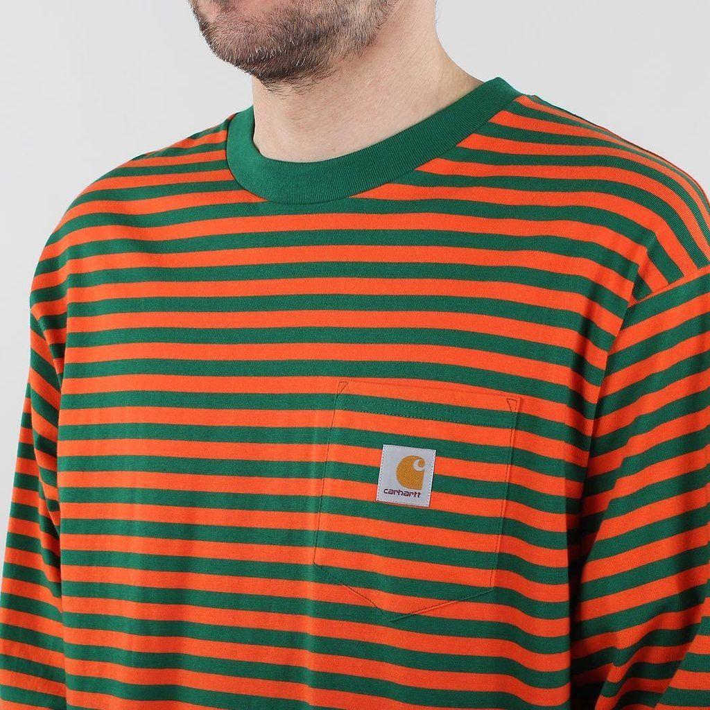Carhartt t-shirt logotipo Long sleeve t-shirt Navy