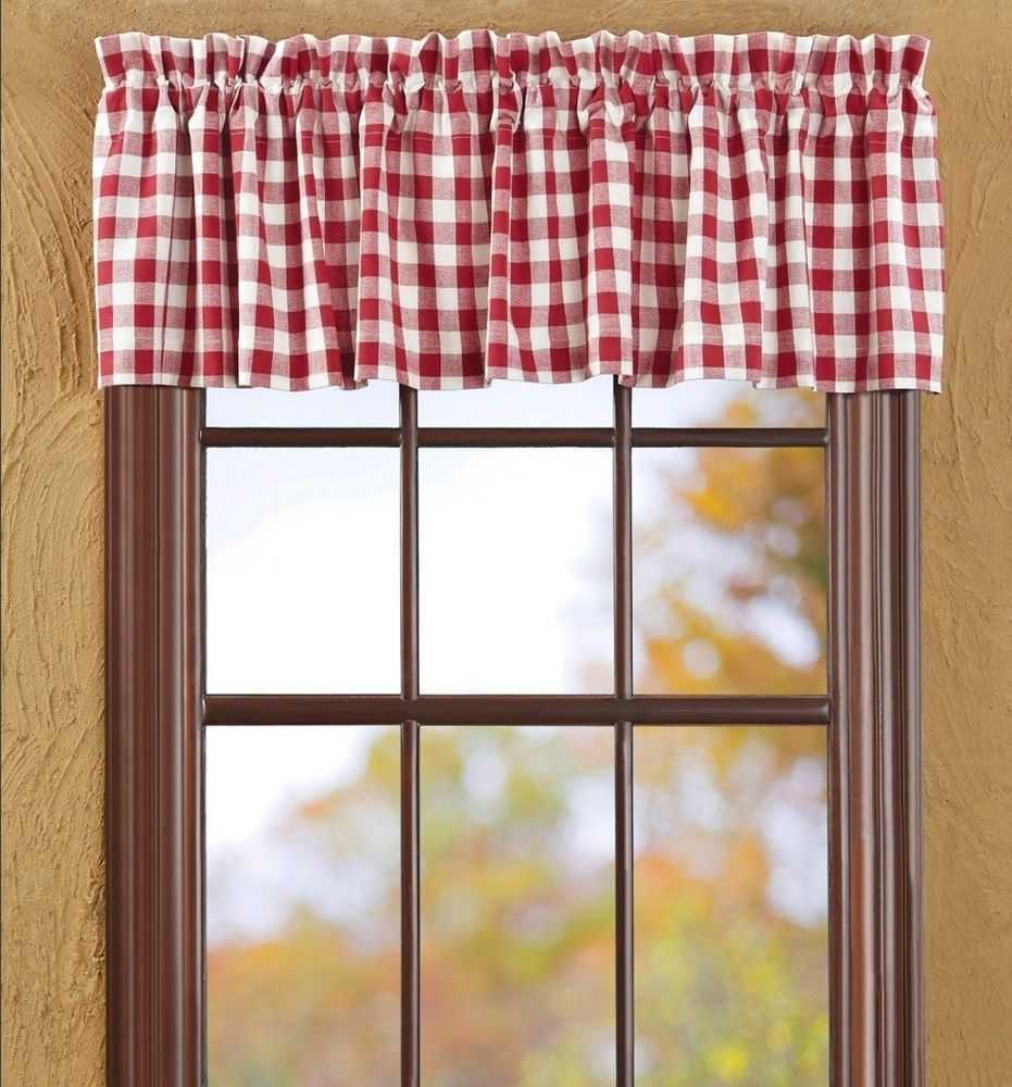 Details About Buffalo Red Check Valance White Plaid Country Cottage Curtain Valance Red White Curtains Cottage Curtains