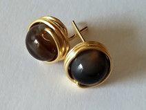 Smoke brown Agate stud earrings, wrapped in gold wire.
