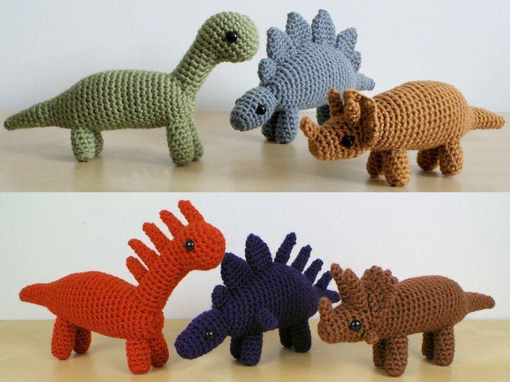 Dinosaurios Amigurumis Patrones Gratis : Dinosaurs sets 1 & 1x six amigurumi crochet patterns amigurumi