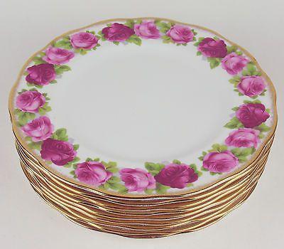 9 x Dinner Plates Royal Albert Old English Rose Bone China England | eBay