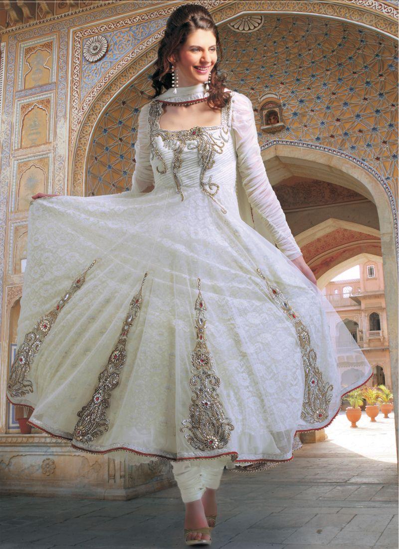 Designer salwar kameez mesmeric peach color net designer suit - Pristine Off White Net Salwar Suit
