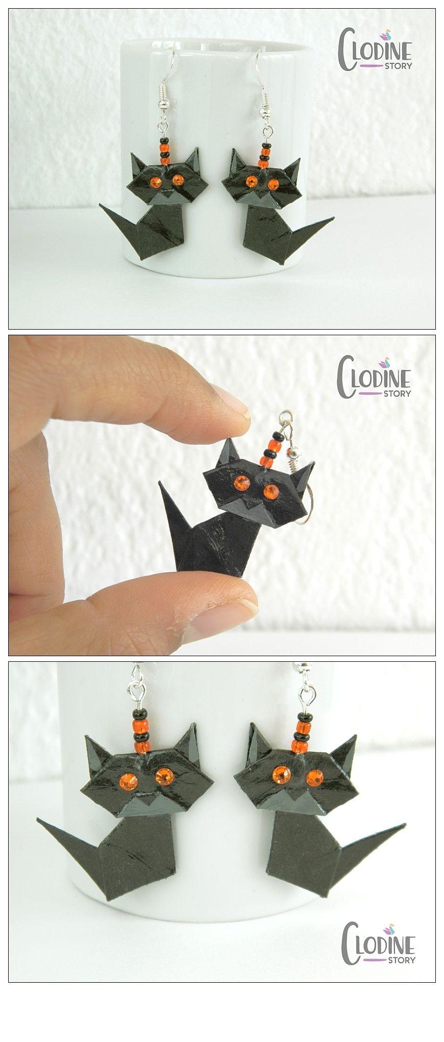 Photo of Black origami cat earrings, Origami cat, Paper jewelry, Origami jewelry, Cat, Animal, Black, Orange, Kawaii, Cute, Handmade, Cat earrings