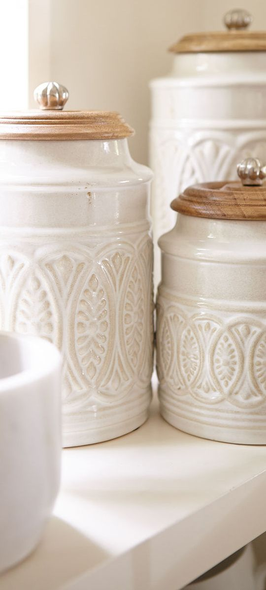 17af35554d5 Ivory Farmhouse Canisters - just big enough for pizzelles!