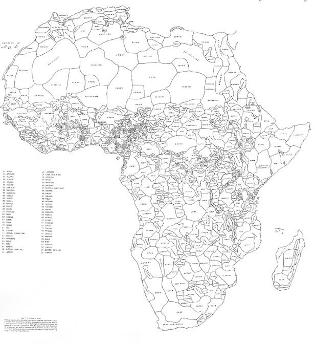 Africa tribal map defined by ethnicity and language. By