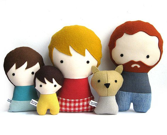 Handmade Personalized Family with Dog. Plush doll. Custom your own ...