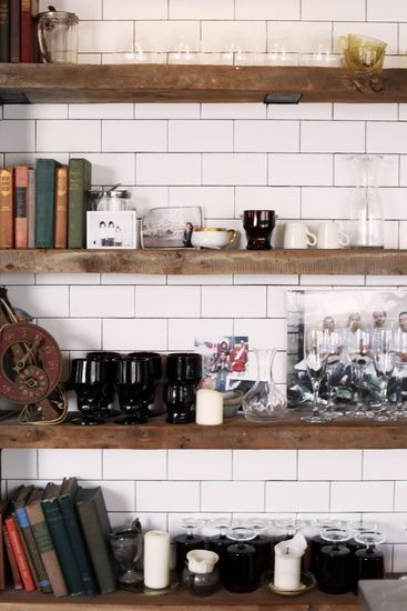 salvaged wood shelving subway tile brick wood concrete in 2018 rh pinterest com